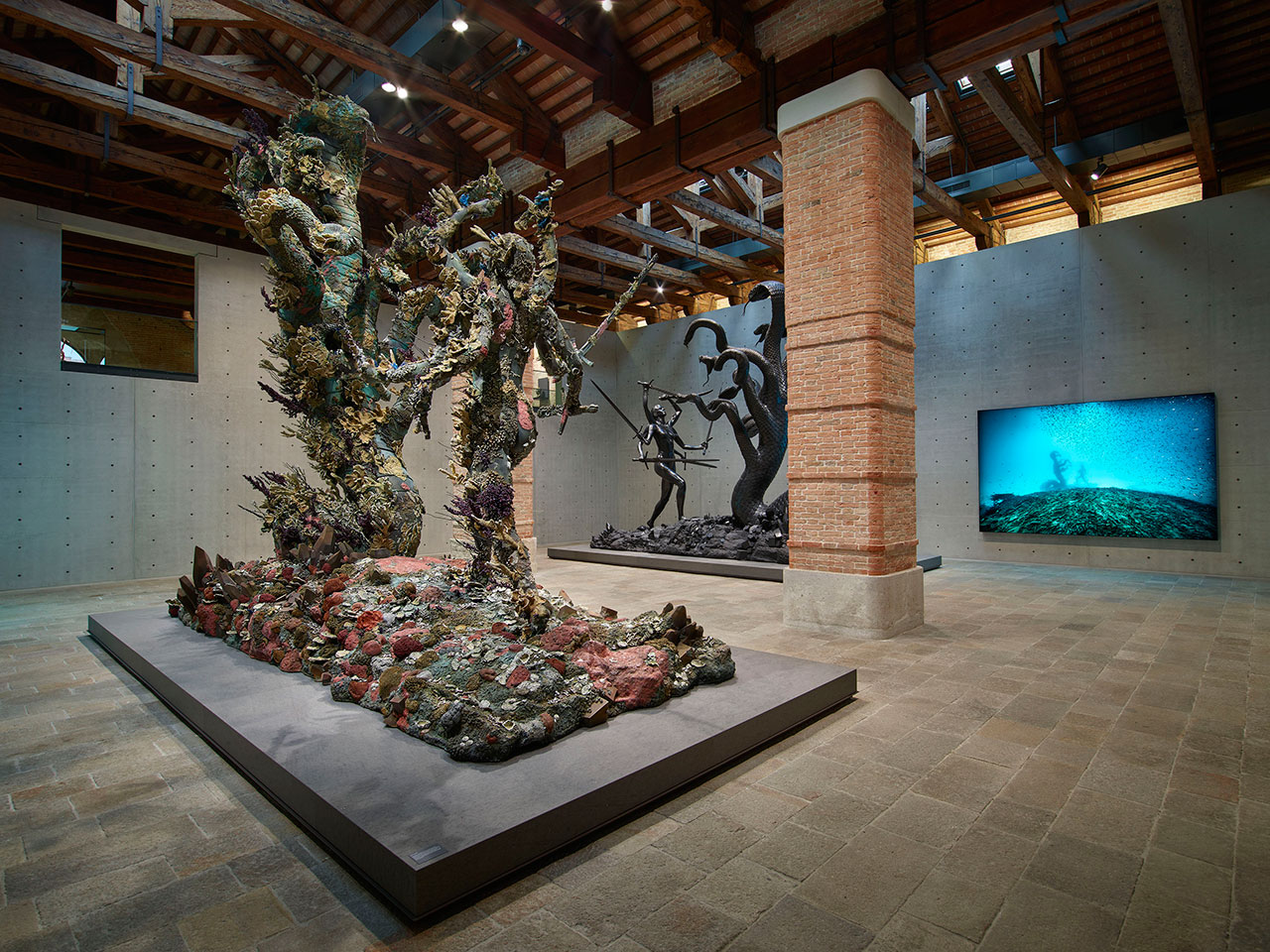 From Punta della Dogana, Room 11: (left to right) Damien Hirst, Hydra and Kali (two versions), Hydra and Kali Beneath the Waves (photography Christoph Gerigk). Photographed by Prudence Cuming Associates © Damien Hirst and Science Ltd. All rights reserved, DACS/SIAE 2017.