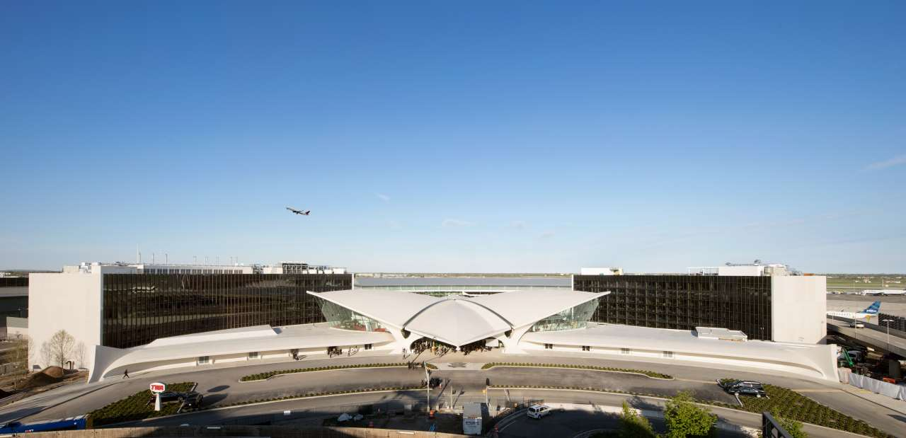 Two brand new wings behind Eero Saarinen's historic terminal house the TWA Hotel's 512 guestrooms. Courtesy of TWA Hotel. Photo by David Mitchell.
