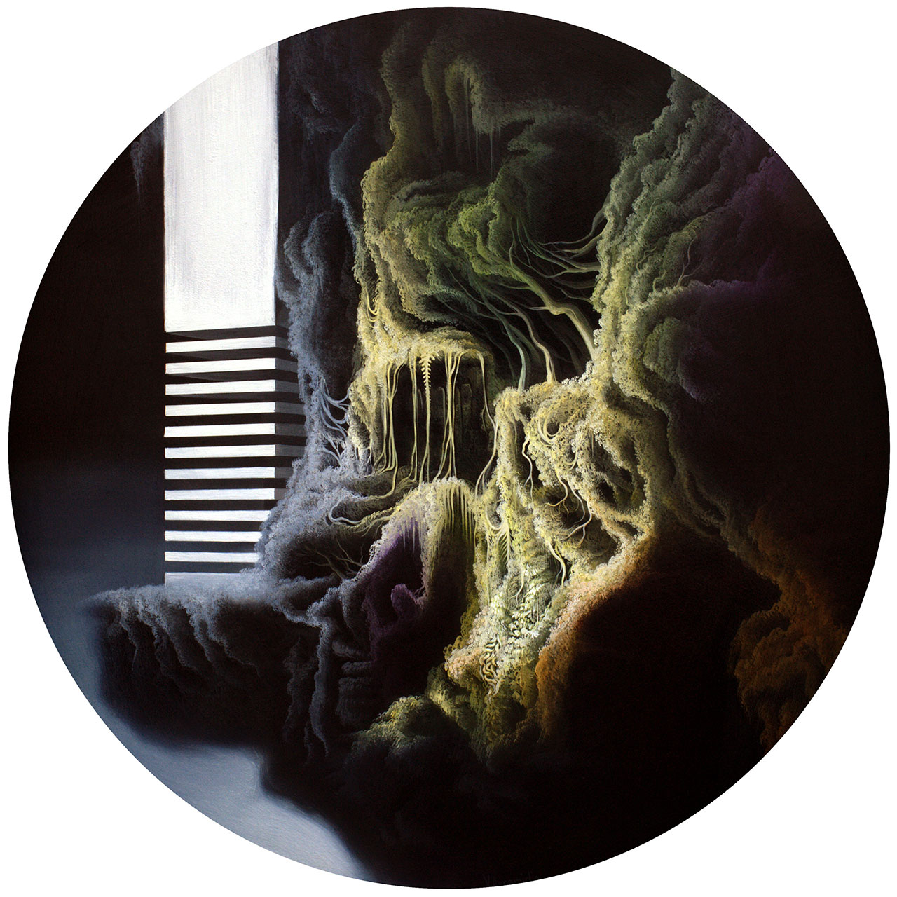 Vasilis Avramidis, Elevator, 2015, 50cm diameter, oil on wood.