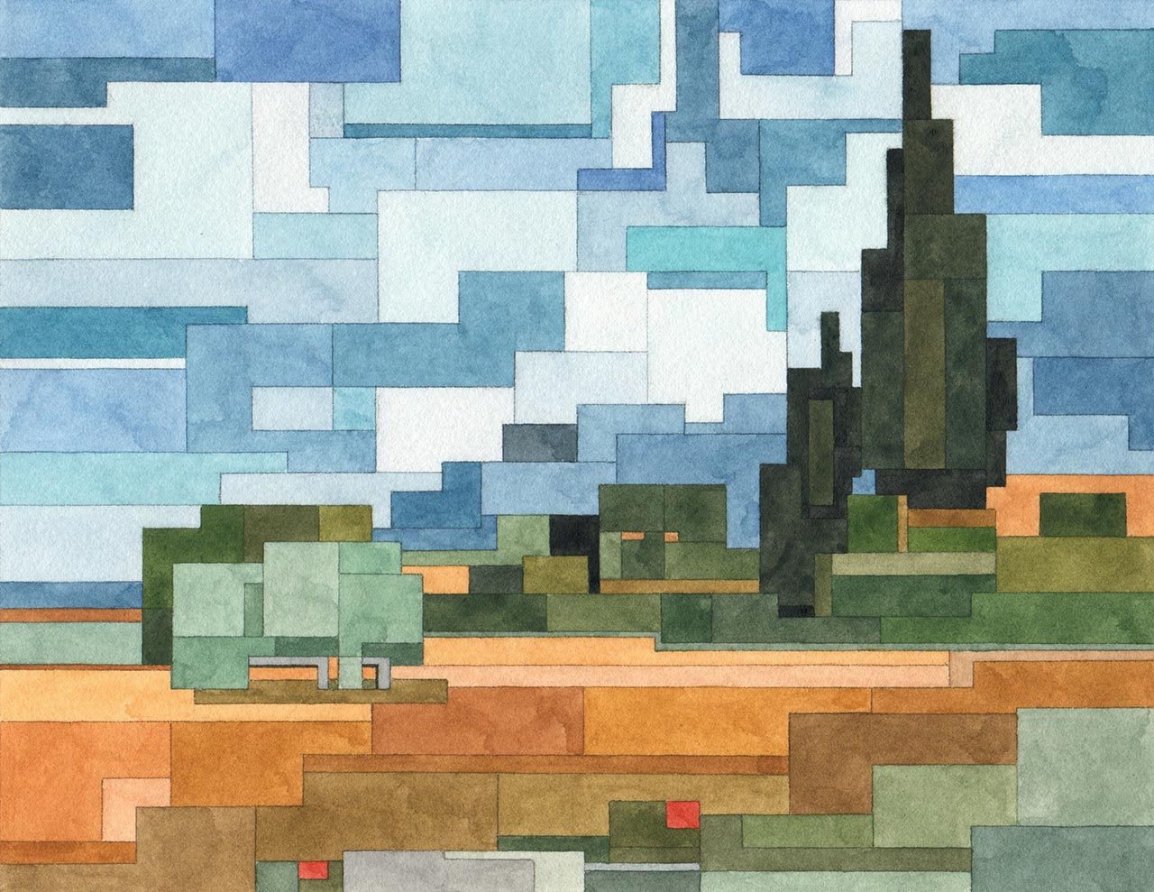 Adam Lister, Wheat Field with Cypresses. Geometrical watercolour inspired by Van Gogh © the artist.