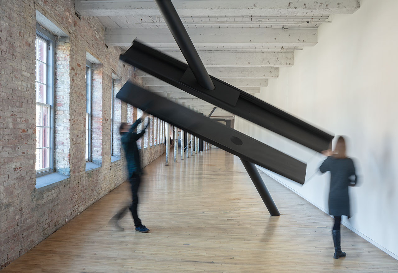 SARAH OPPENHEIMER, S-334473, 2019.Aluminum, steel, glass and existing architecture. Total dimensions variable.Installation view: Mass MoCA. 2019.Photo Credit: Richard Barnes.