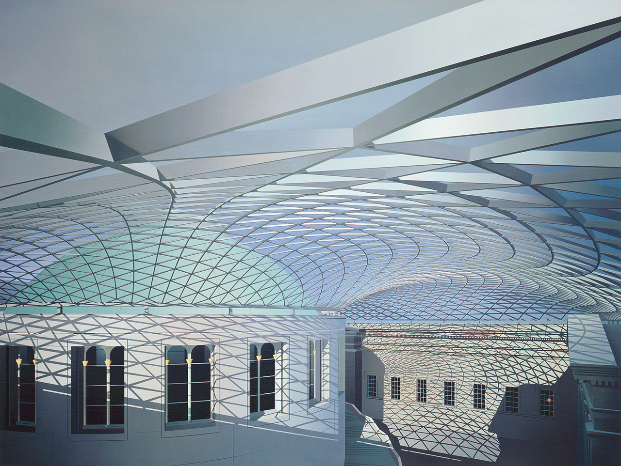Ben Johnson British Museum Great Court 2002Acrylic on linen59x79in / 150x200cm.