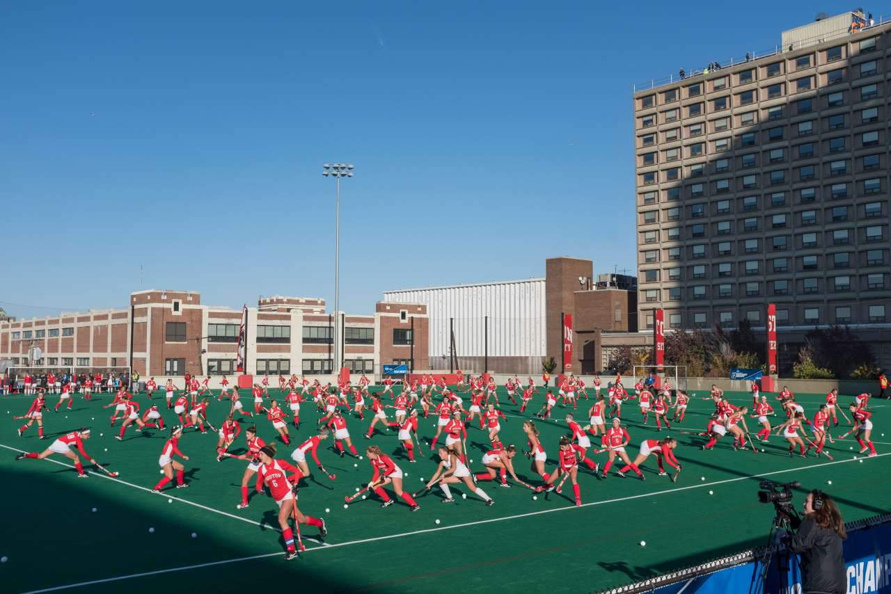 Pelle Cass, Field Hockey Game, Boston University from 'Crowded Field Series', 2018, Boston. © Pelle Cass.