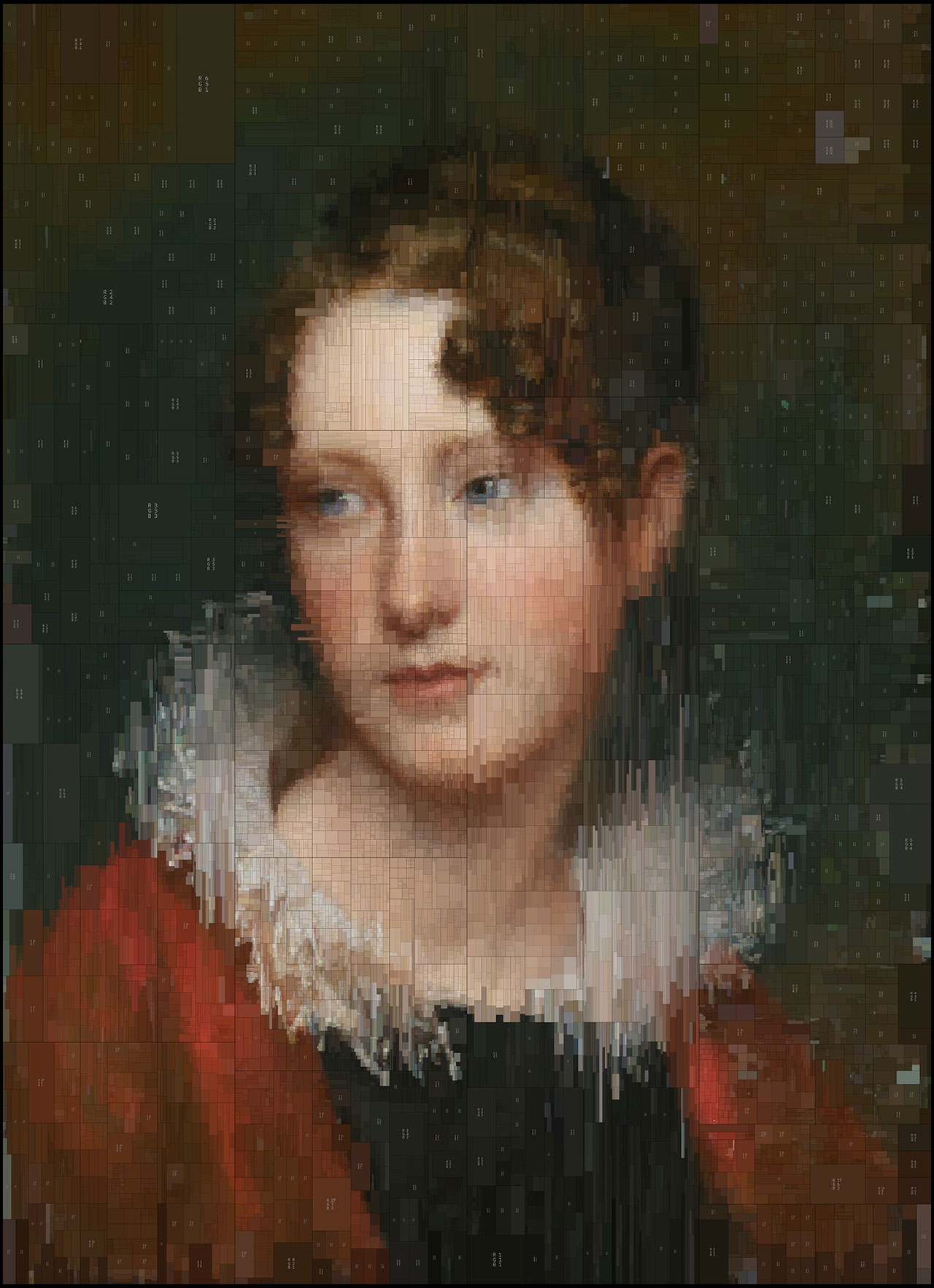 Rosalba, from Portraits series by Dimitris Ladopoulos (Original painting - Portrait of Rosalba Peale by Rembrandt Peale, 1820).