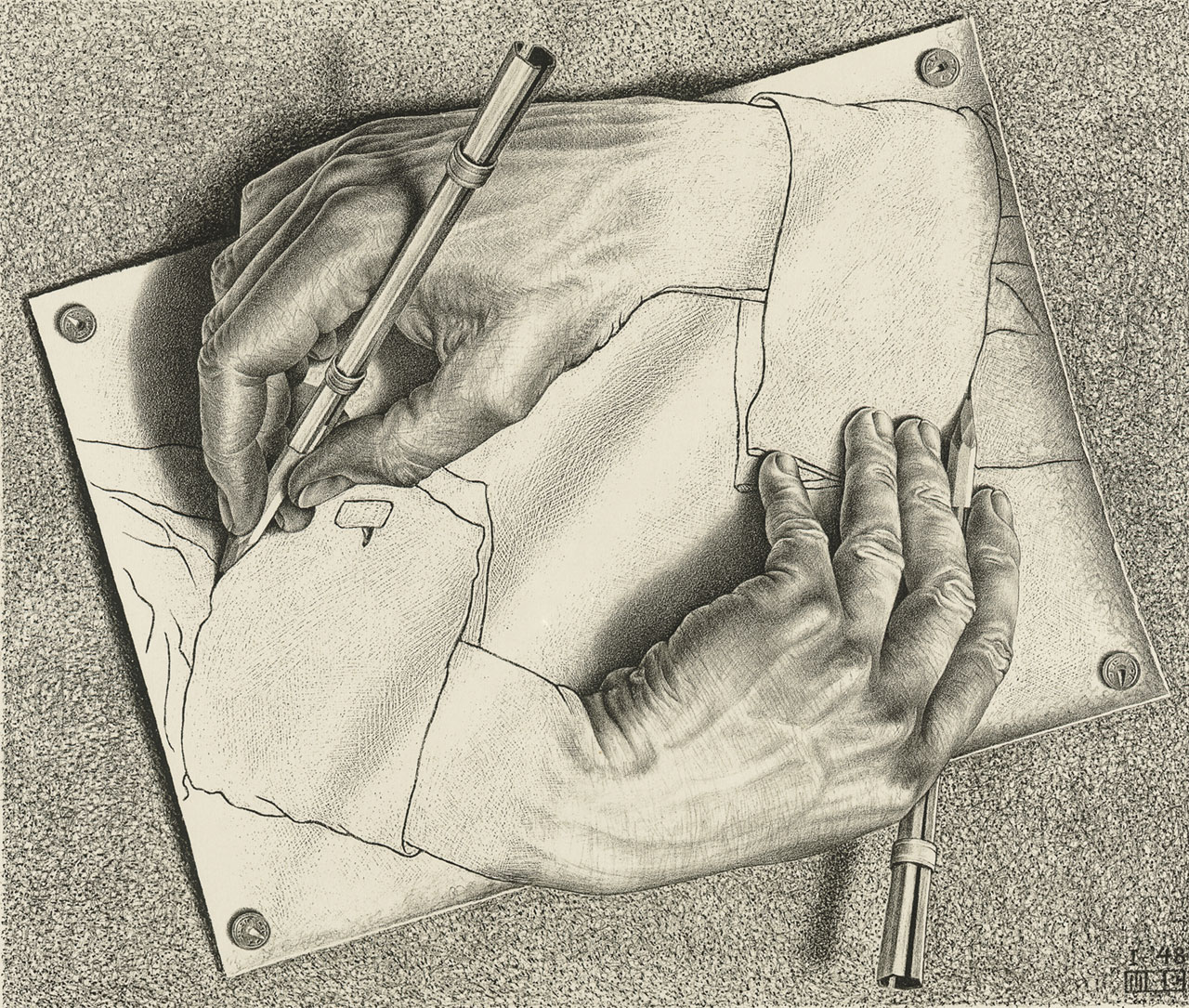 M. C. Escher, Drawing hands, January 1948, lithograph. Escher Collection, Gemeentemuseum Den Haag, The Hague, the Netherlands © The M. C. Escher Company, the Netherlands. All rights reserved.