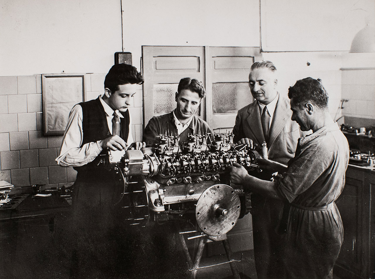 Enzo Ferrari in Factory, 1947. Photo courtesy of Ferrari.