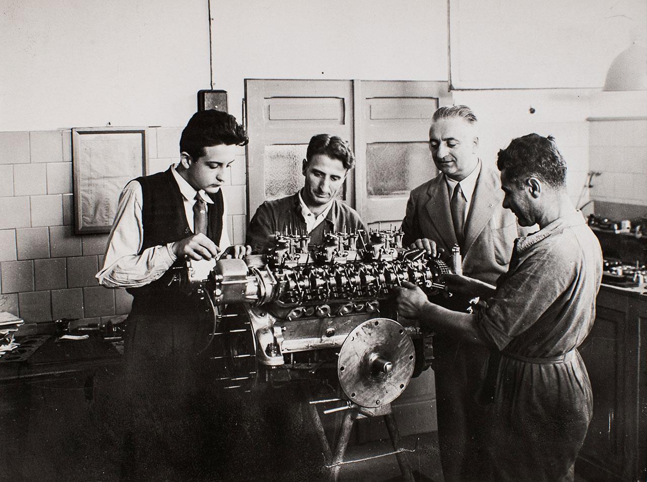 Enzo Ferrari in Factory, 1947.Photo courtesy of Ferrari.