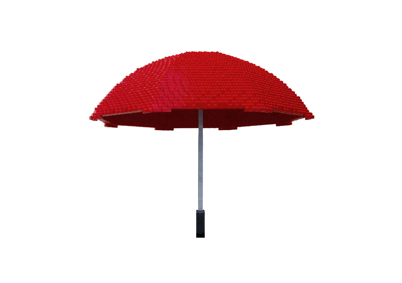 Umbrella, In Pieces 2012, Plastic Bricks, 28.0 x 33.0 x 33.0 inches, edition of 7Photo courtesy of InPiecesCollection.com