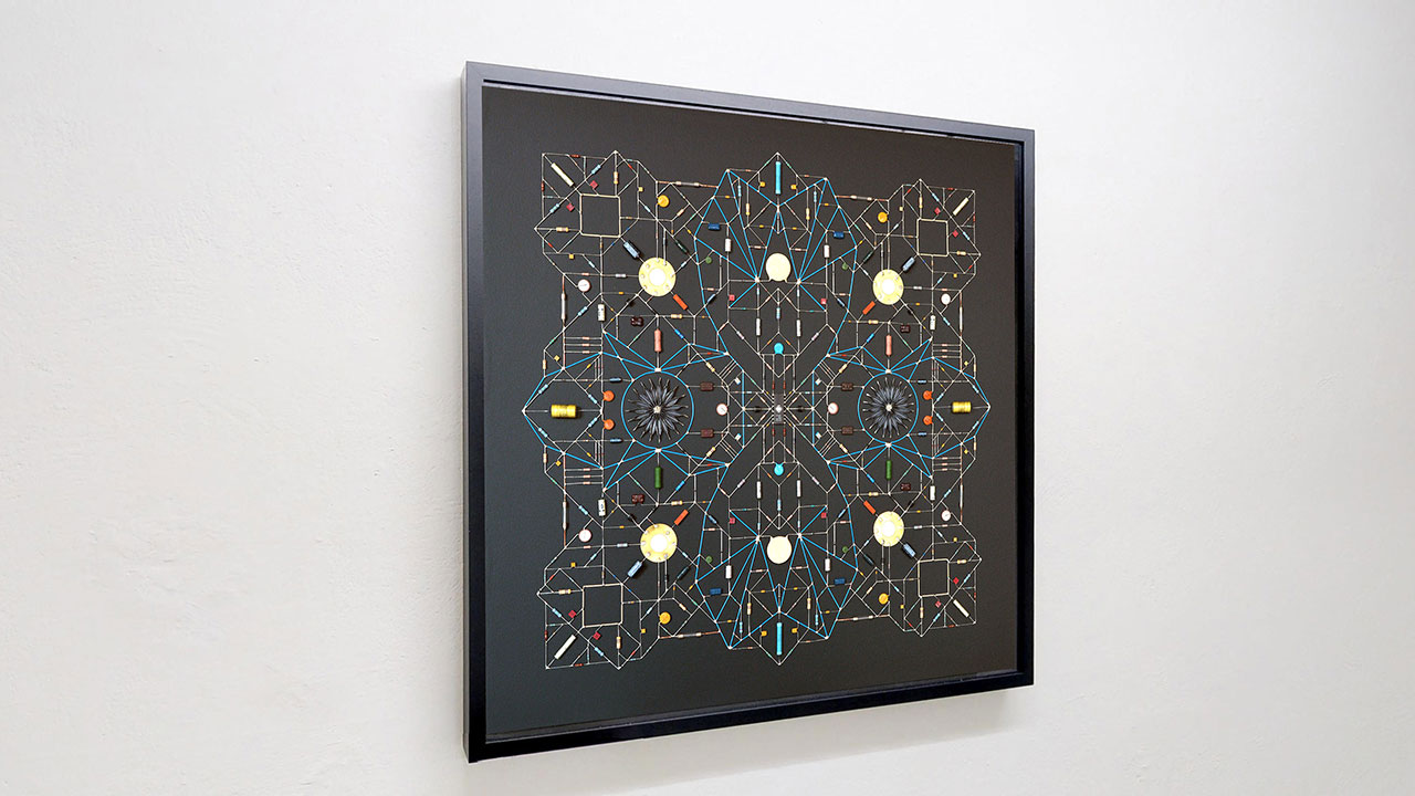 Technological Mandala 101, 2019. Electronic components, copper wires, varnish, lead, paper, acrylic paint, mdf, framed,  84x84x5,5 cm | 33x33x2¼  inches. Courtesy: The Flat – Massimo Carasi. Photo by The Flat.