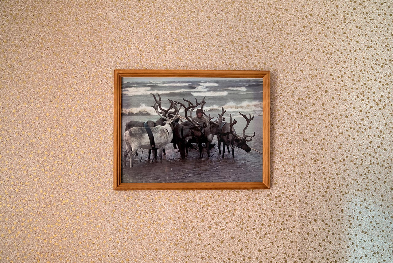 A framed picture of a Nenets herder with the reindeer. For the Nenets, the reindeer are considered part of the family and have a place of honor in local culture and folklore. Yar-Sale, Yamalo-Nenets Autonomous Okrug, Russia. Photo © Oded Wagenstein.