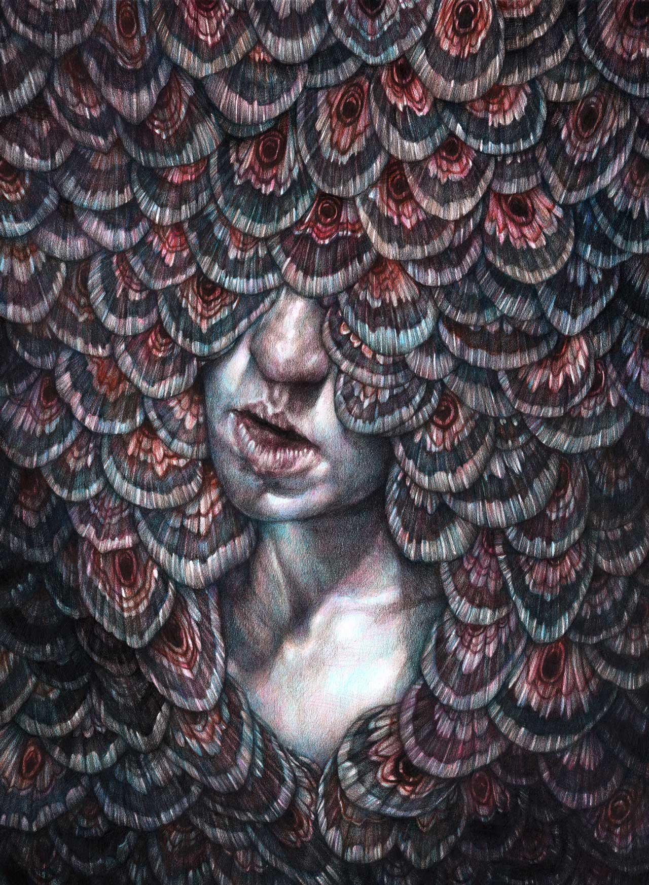 Marco Mazzoni, Dance/Weep/Dance, 2016. Colored pencils on paper, 40 x 30cm © Marco Mazzoni.