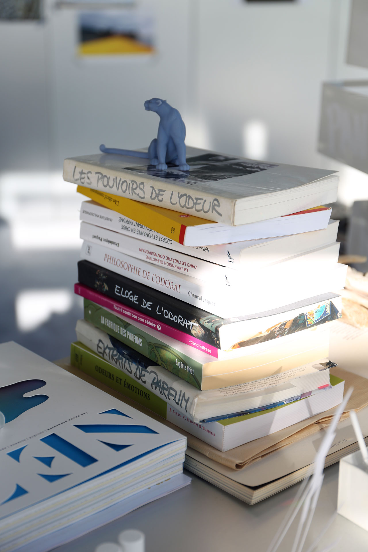 """A tall stack of books on Mathilde Laurent's desk all interestingly bear the same title, """"The Power of Smell,"""" albeit by different writers and publishers. Photo byMohéli Rinaldi for Yatzer."""