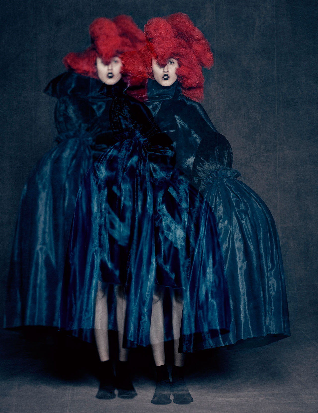 Rei Kawakubo for Comme des Garçons. Blue Witch, spring/summer 2016; Courtesy of Comme des Garçons. Photograph by © Paolo Roversi; Courtesy of The Metropolitan Museum of Art.