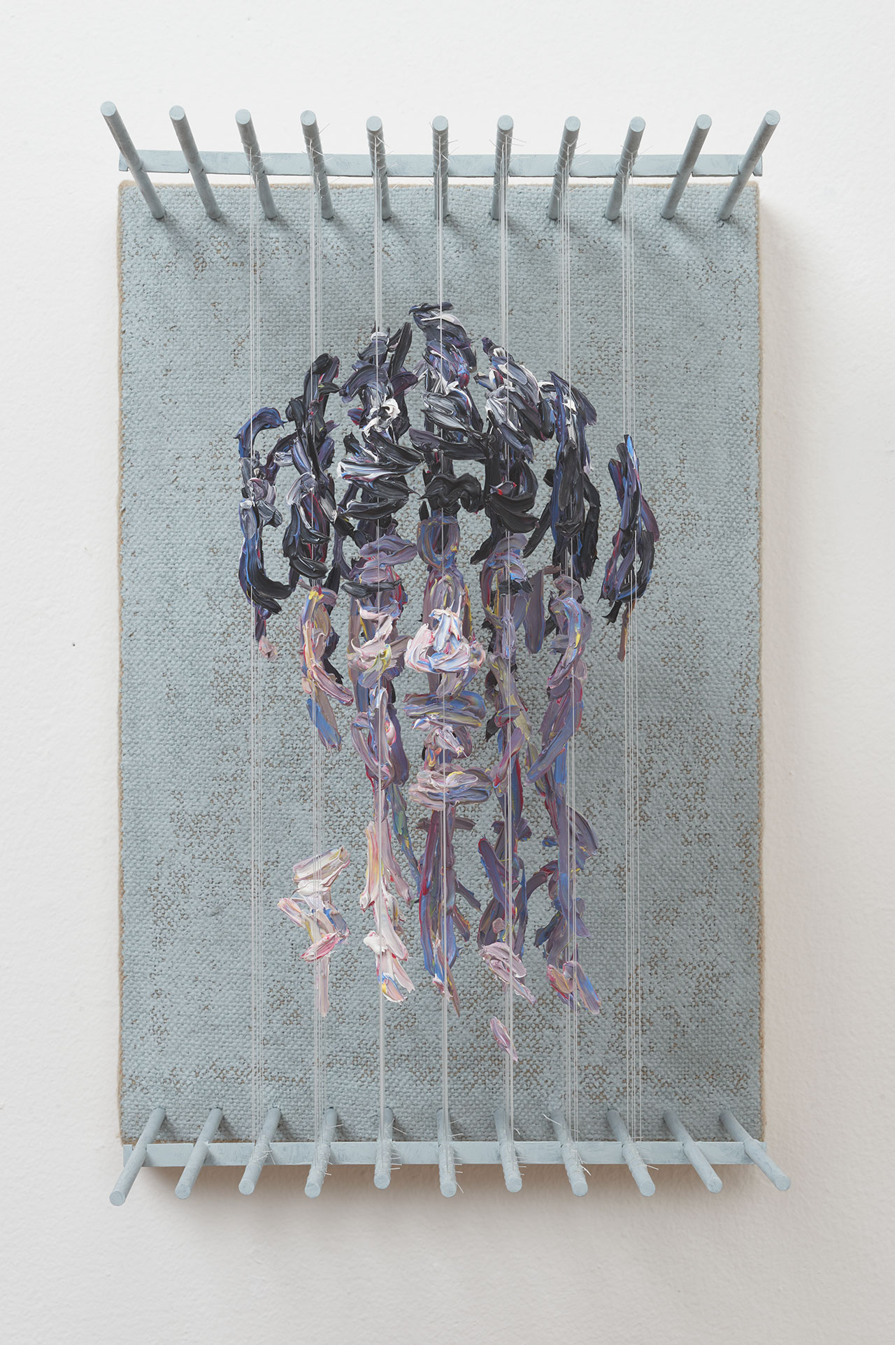 Chris Dorosz, h.o.r, 2017. Acrylic paint on monofilament, metal, jute on board,14 H x 9.25 W x 11D inches. Photo courtesy of Muriel Guépin and the artist.