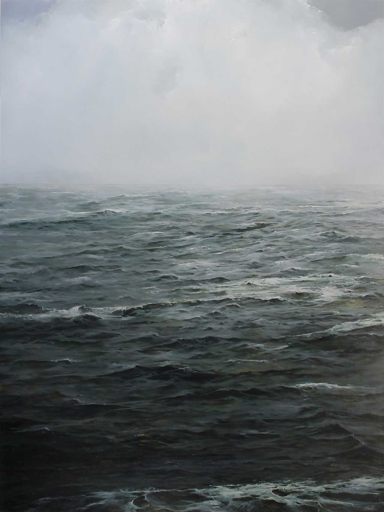 """Adam Hall,Breath In Breath Out, 30"""" x 40"""", oil on panel. CourtesyRobert Lange Studios and the artist."""
