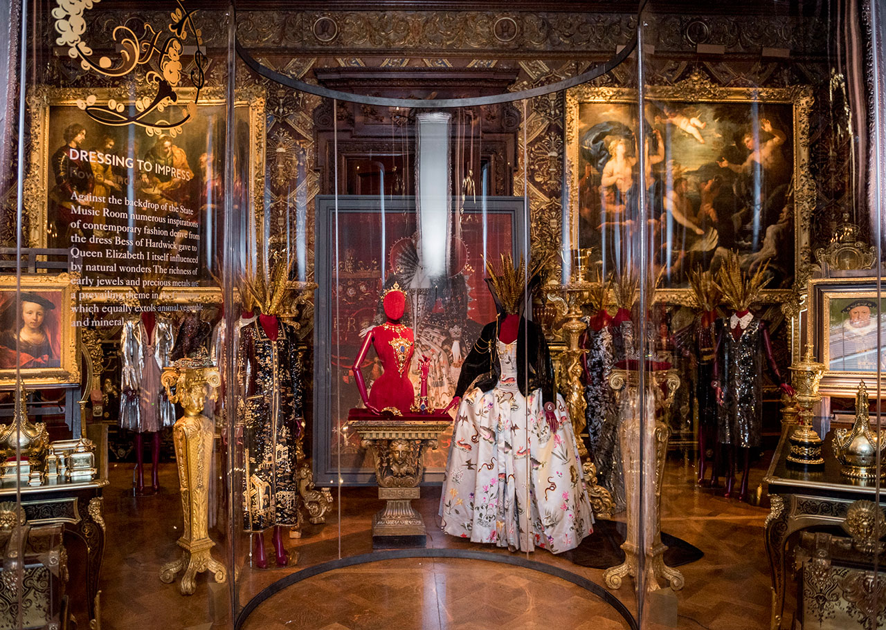 Dresses on display in State Music Room. Photo courtesy Chatsworth House Trust.