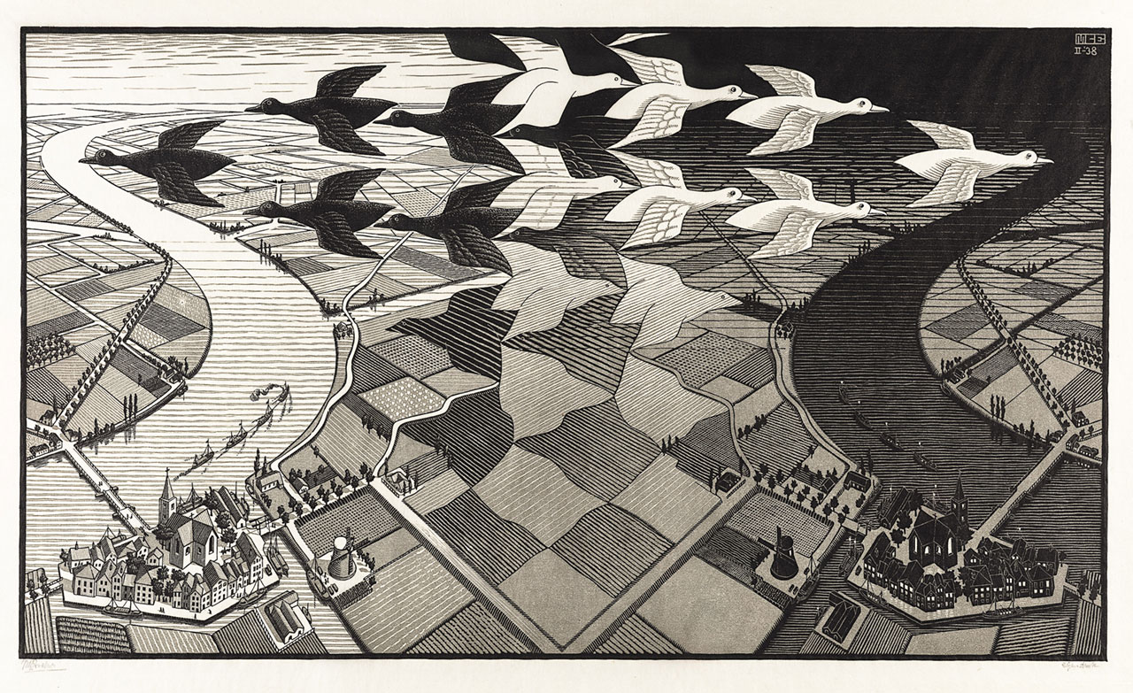 M. C. Escher, Day and night, February 1938, woodcut, printed in grey and black inks. Escher Collection, Gemeentemuseum Den Haag, The Hague, the Netherlands © The M. C. Escher Company, the Netherlands. All rights reserved.