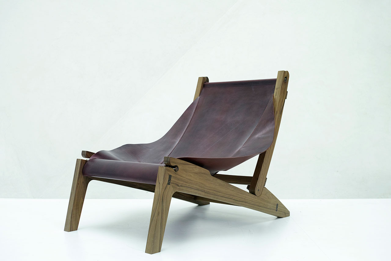 Anastasia Nysten, The cloak chair. Oiled fraké wood, fabric. 650 x 1000 x 830 mm.