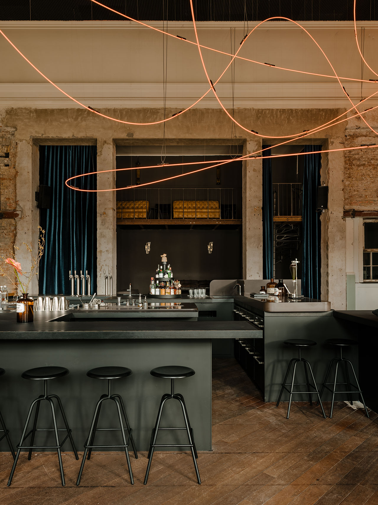 KINK Bar & Restaurant. Bar design incollaboration withHidden Fortress.Bar stools byAtelierHaussmann.Light installation byKerimSeiler. Photography by Robert Rieger. Courtesy of Kerim Seiler.