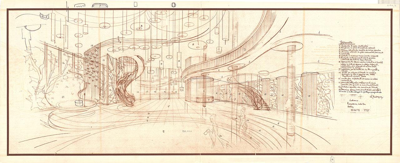 Lutrario, Turin, 1959. Architect: Carlo Mollino. Original plan. Courtesy Politecnico di Torino.