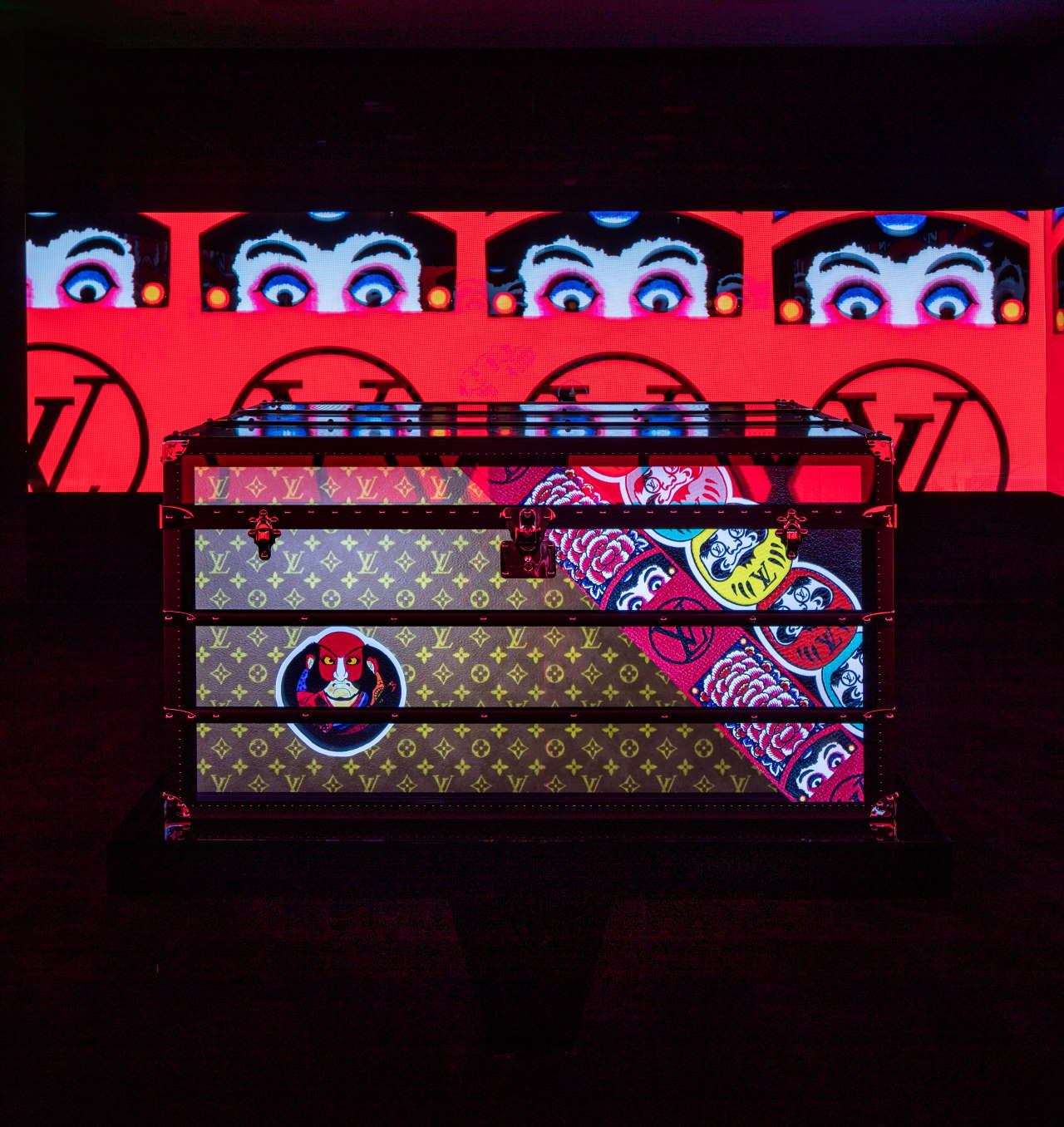 """Magic Malle: The Past is Present"" multi-screen installation. Photo by Brad Dickson, courtesy of Louis Vuitton."