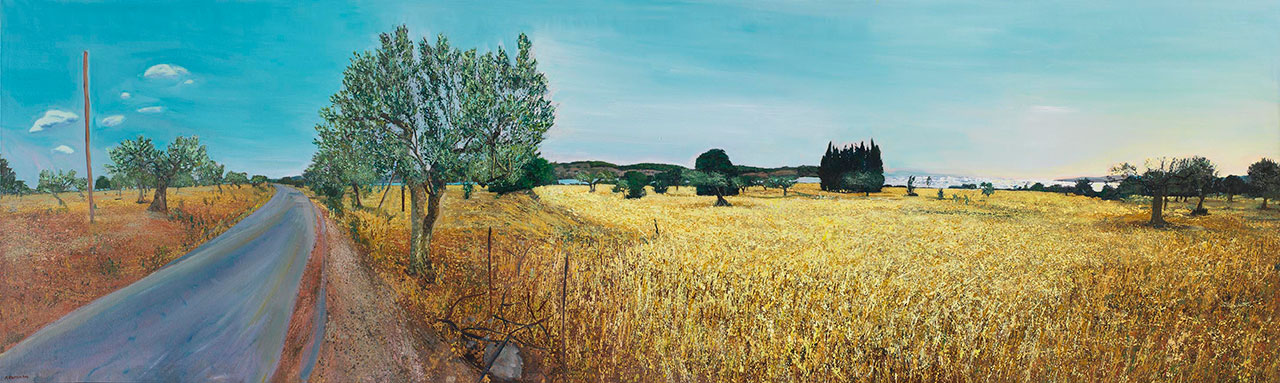 Maria Filopoulou, Landscape with olive trees, 1994. Oil on canvas, 110 x 400cm.