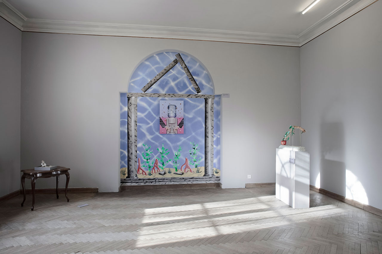 Installation view with works by tothmartonemil, Botond Keresztesi, Zsófia Keresztes. Photo byAron Weber.