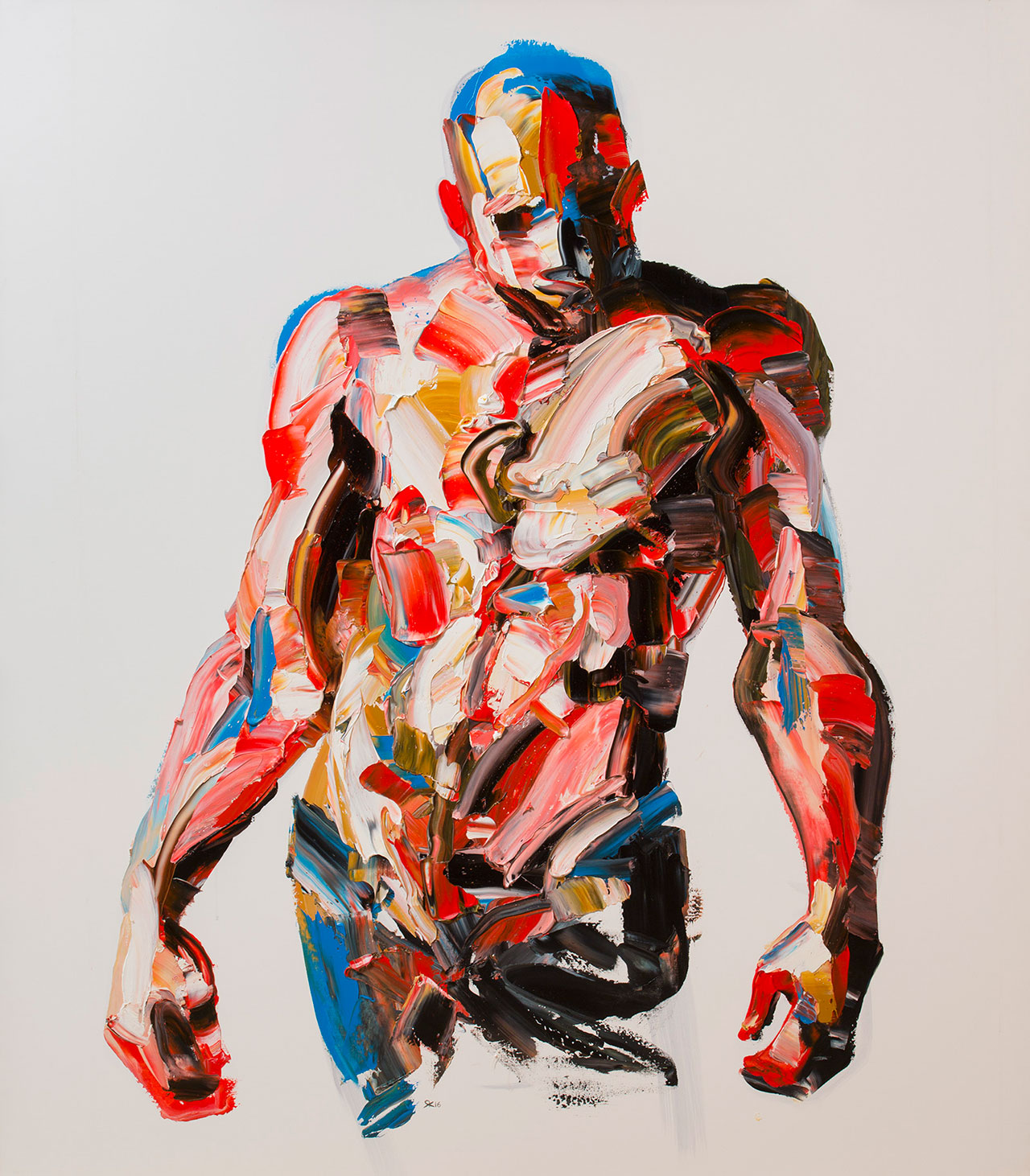 "Salman Khoshroo, Figure from the ""Wanderer"" exhibition,oil on canvas, 140x160cm."