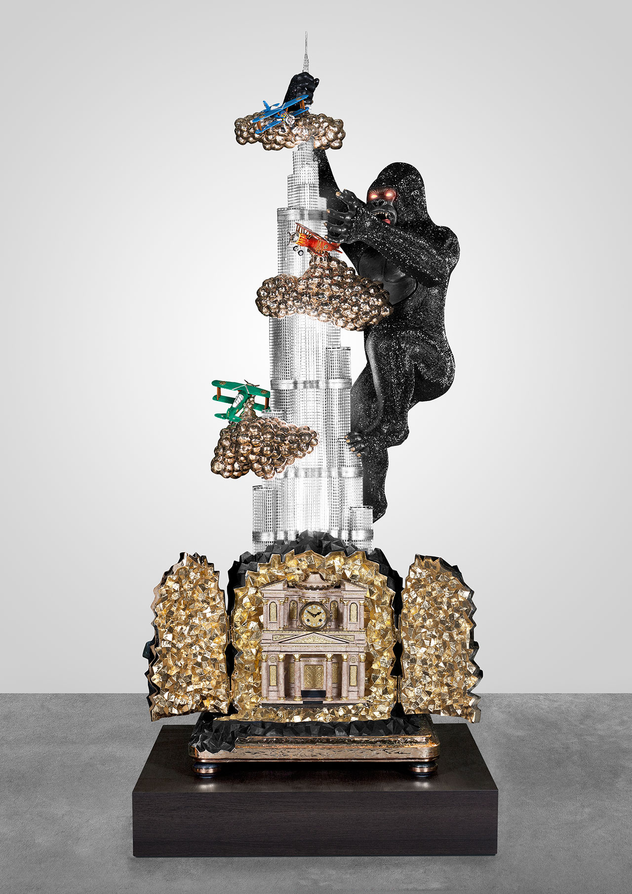 BURJ KHALIFA from Landmark series, 2013–14. Polished and patinated bronze, aluminum, 24-karat gilding, silver leaf, Swarovski crystals, mechanical clockwork, faux marble, paint, handblown glass, LED light fittings, electric motors. Courtesy of Carpenters Workshop Gallery. Photo by Loek Blonk.