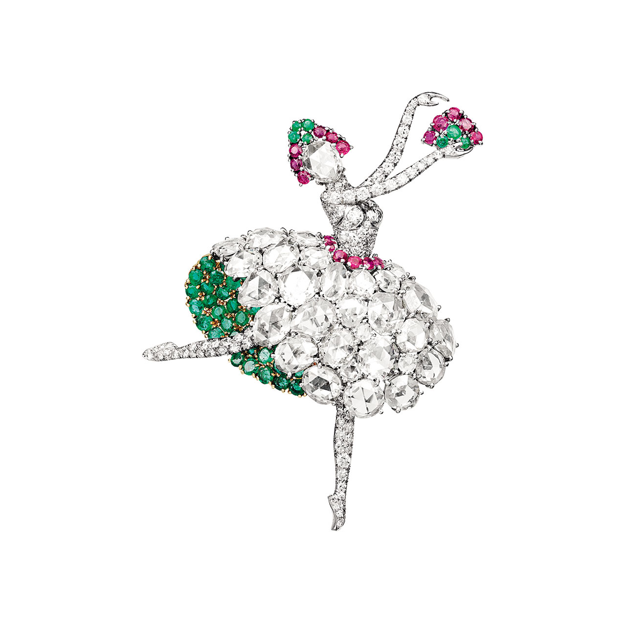 Spanish ballerina clip, 1941. Platinum, gold, rubies, emeralds, diamonds. Van Cleef & Arpels Collection. Photo by Patrick Gries © Van Cleef & Arpels.