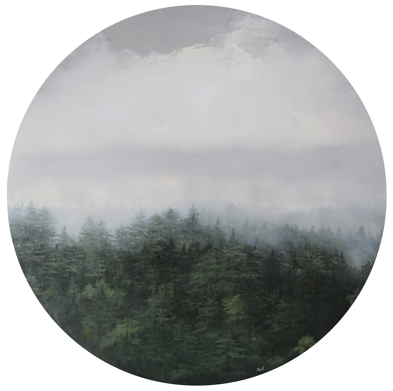 """Adam Hall,Hunger Of The Pines, 30"""" x 30"""", oil on panel. CourtesyRobert Lange Studios and the artist."""