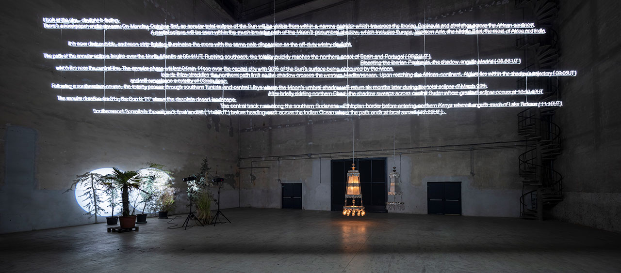"Cerith Wyn Evans, ""….the Illuminating Gas"", exhibition view at Pirelli HangarBicocca, Milan, 2019. Courtesy of the artist and Pirelli HangarBicocca, Milan. Photo: Agostino Osio."