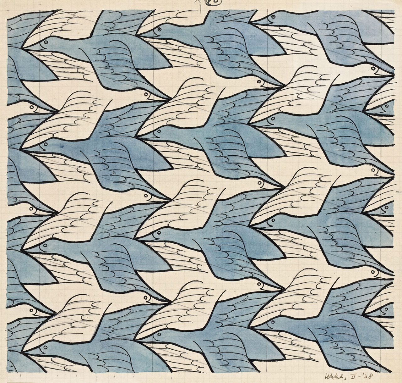 M. C. Escher, Regular division of the plane no. 18 (Two birds) February 1938, pencil, pen and ink and watercolour on graph paper. Escher Collection, Gemeentemuseum Den Haag, The Hague, the Netherlands © The M. C. Escher Company, the Netherlands. All rights reserved.
