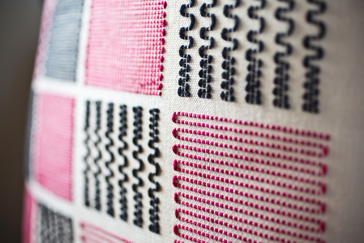 Schemata Series, Fuzzy Squares (detail), Handwoven Cushion Cover, 42 x 42cm, Cotton. Photo by Panagiotis Mina.