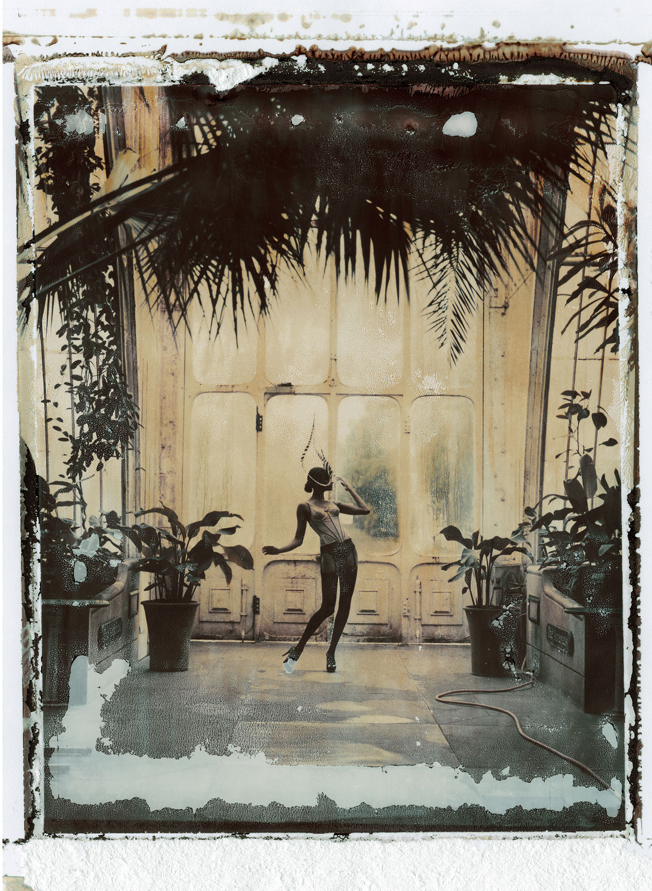 "Cathleen Naundorf ""Kew Gardens"" Philip Treacy (hat), Cadolle (lingerie), Color-print from original polaroid, 2009."