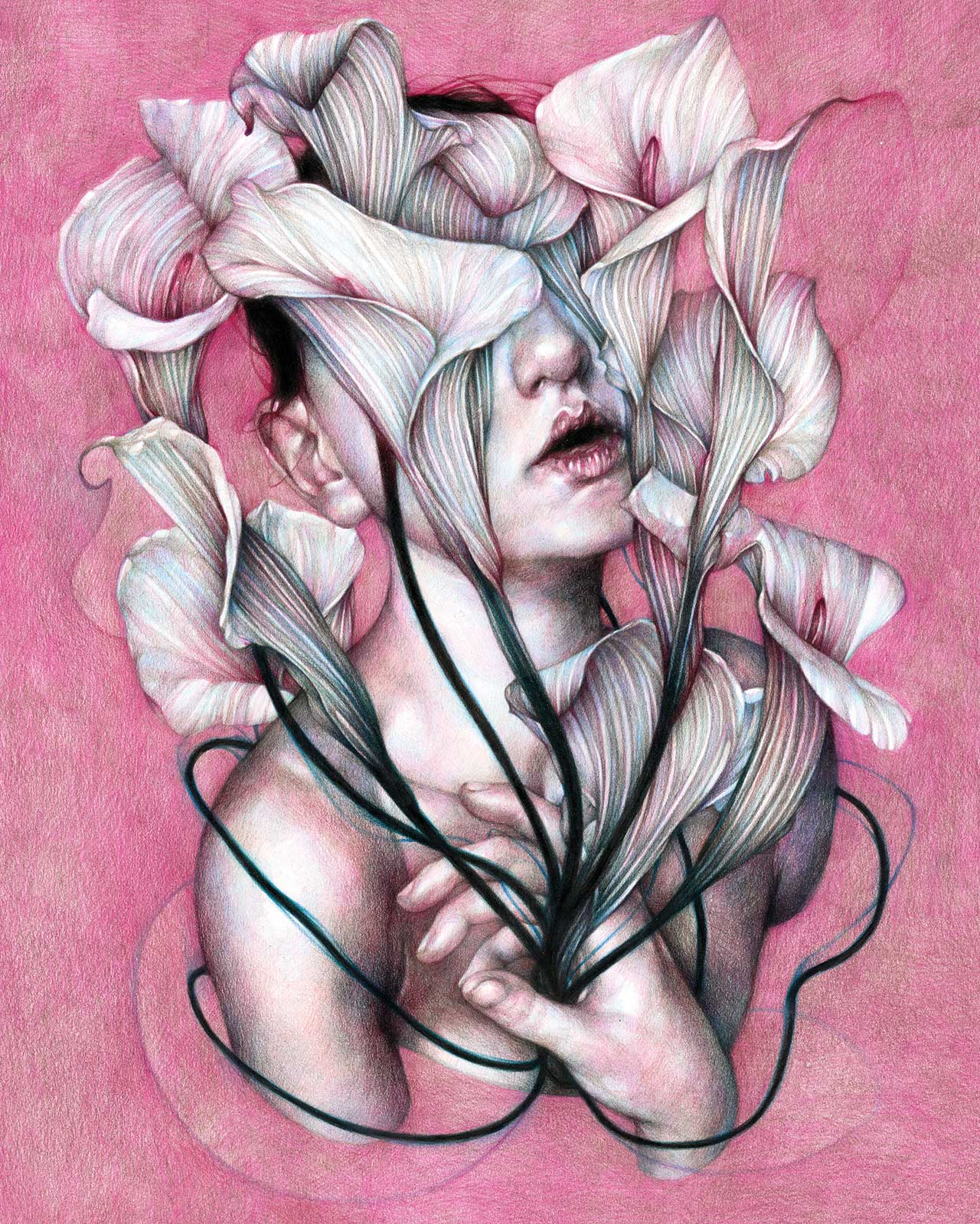 Marco Mazzoni, Insecurity. Colored pencils on paper, 48 x 38cm  © Marco Mazzoni.