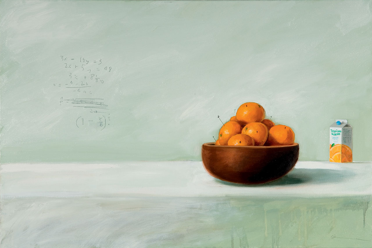 "STILL LIFE WITH MATHS AND ORANGE  2006oil, letraset  and lead on  canvas 23 1/2"" x 35 1/2"" © Oliver Jeffers."