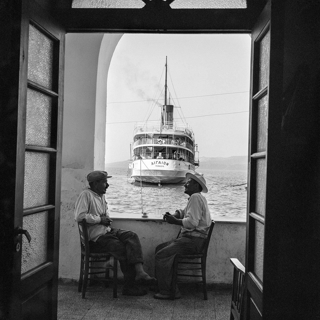 Santorini. The Aigaion in port. Photo © Robert McCabe.