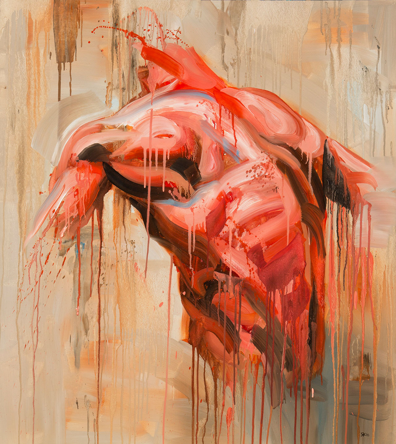 Salman Khoshroo,from the Torso series, 85x95cm, oil on canvas.