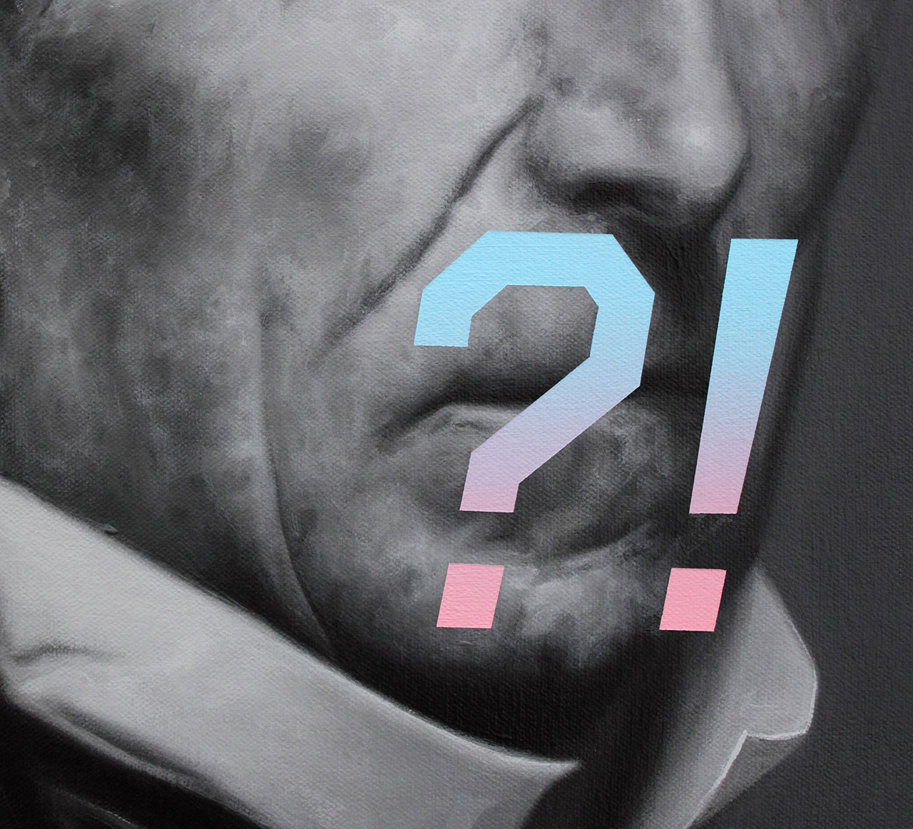 Shawn Huckins, John Tyler's Expression Of Surprise, Confusion, or Shock (detail), acrylic on canvas, 20 x 16 in (51 x 41 cm), 2016.