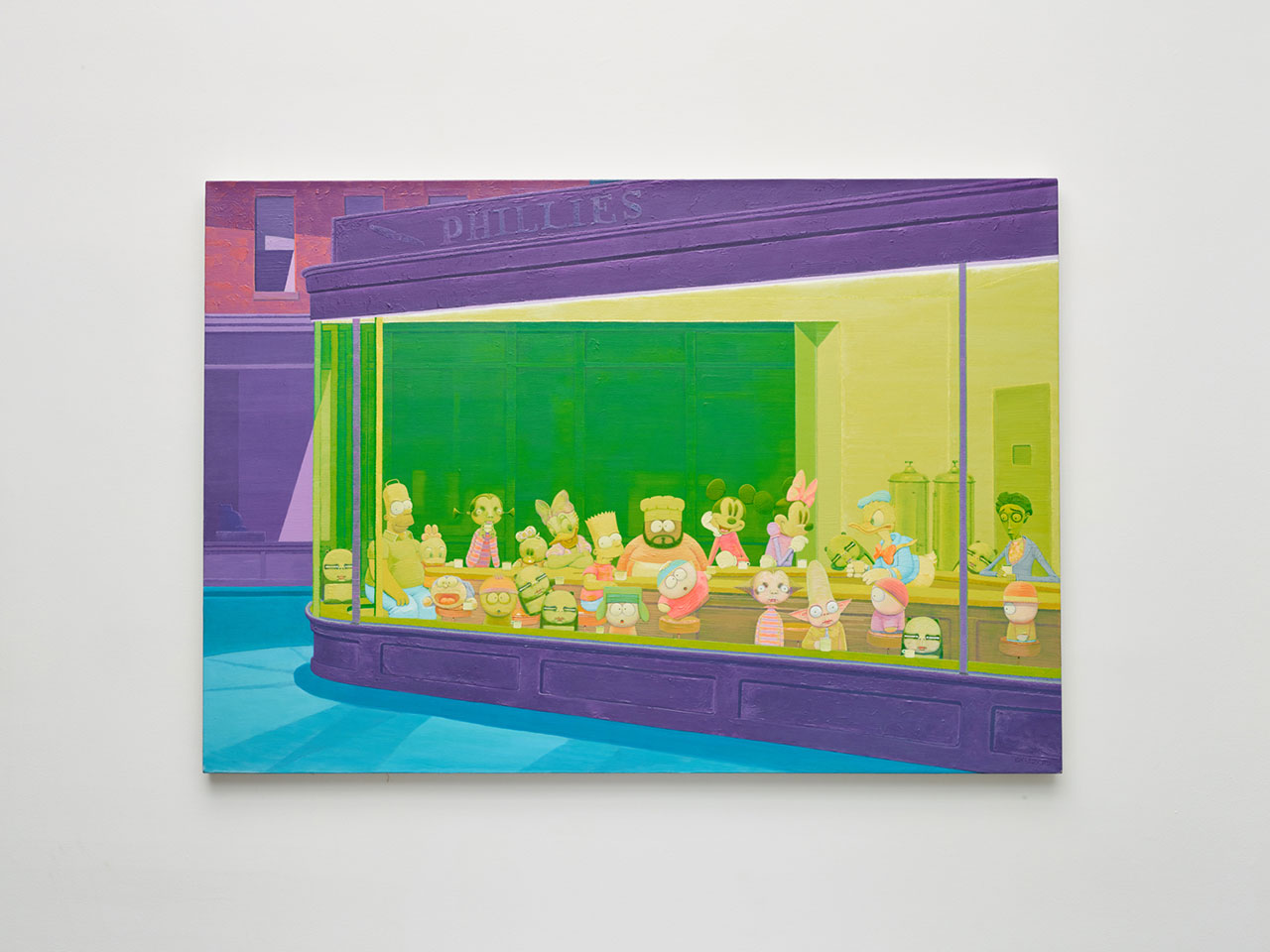 Zhang Gong, Sister Pan's Cafe, 2012. Acrylic on canvas, 47 1/4 x 68 7/8 inches (120 x 175 cm). Courtesy of Klein Sun Gallery and the artist, © Zhang Gong. Photo by Tim Schutsky.