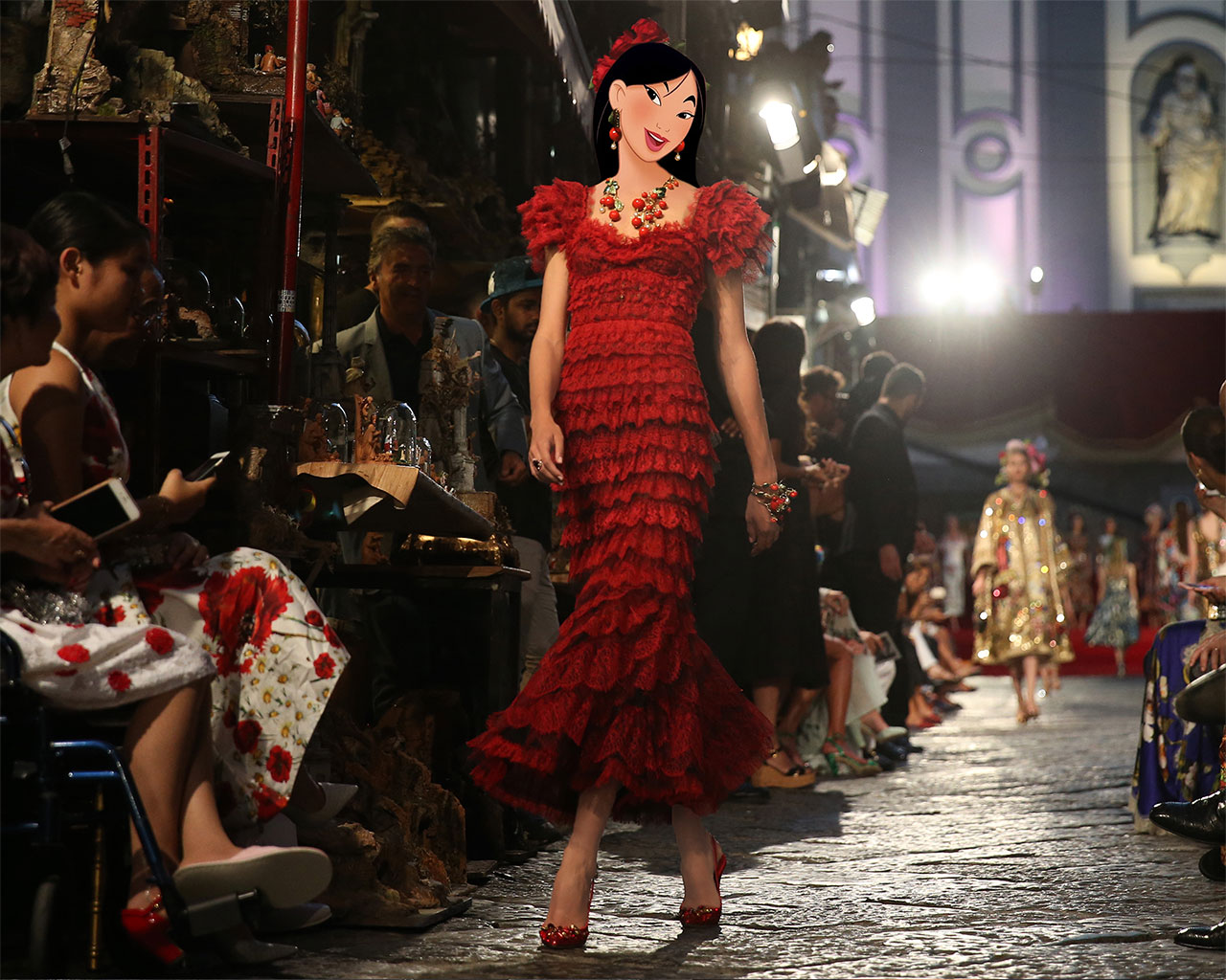 Tabitha Simmons as Mulan for Dolce & Gabbana. Reflecting the passions, feelings, emotions in all aspects of life through a form of art called Alta Moda. Photographed by FASHION TO MAX, photo edit by Gregory Masouras.