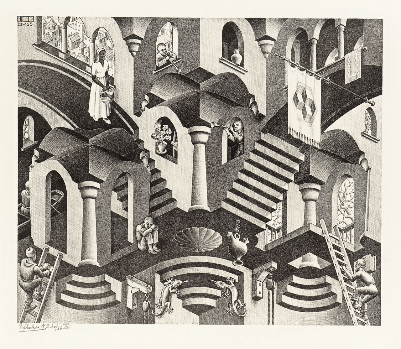 M. C. Escher, Convex and concave, March 1955, lithograph. Escher Collection, Gemeentemuseum Den Haag, The Hague, the Netherlands © The M. C. Escher Company, the Netherlands. All rights reserved.