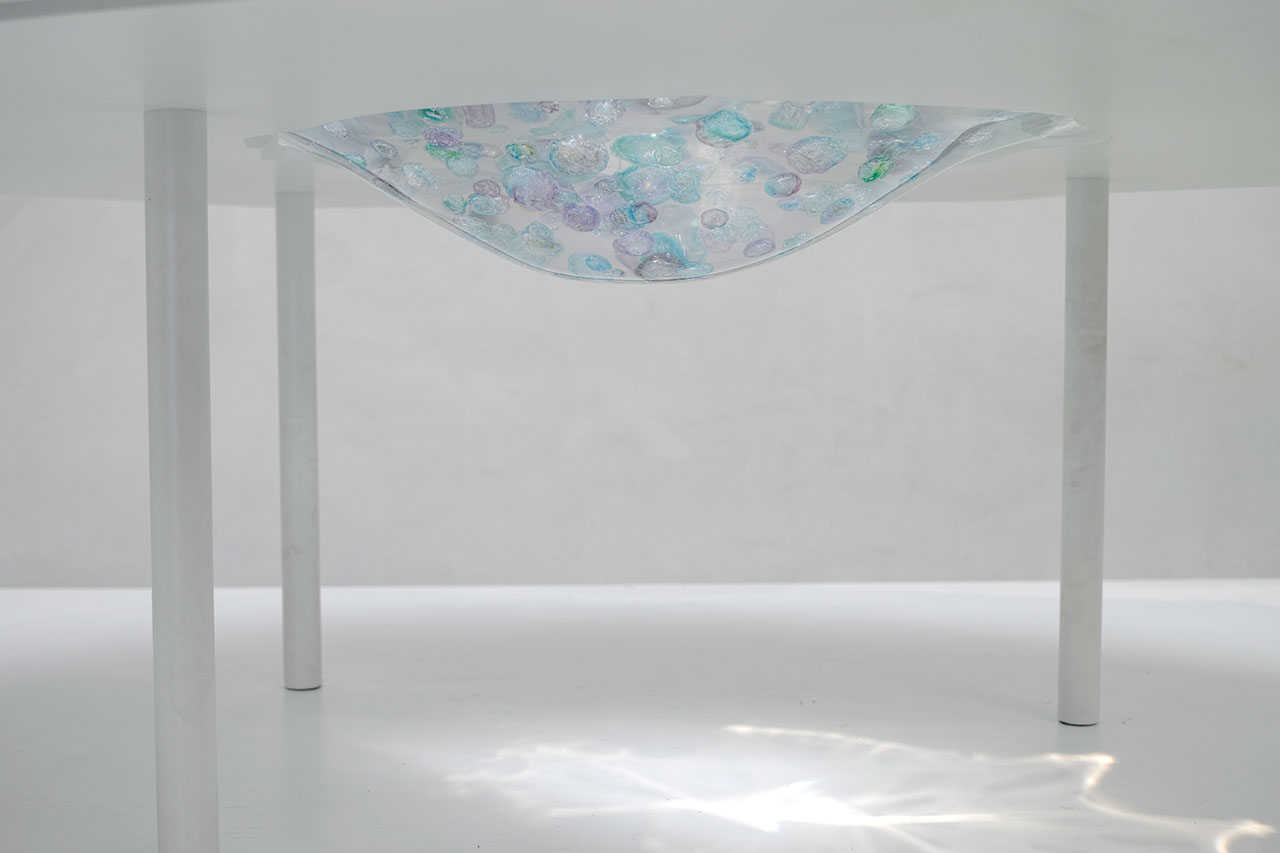 Flavie Audi, Stellar flux (side table detail). Glass, marble, resin, glass, powder coated steel. 75 x 60 x 43 cm.