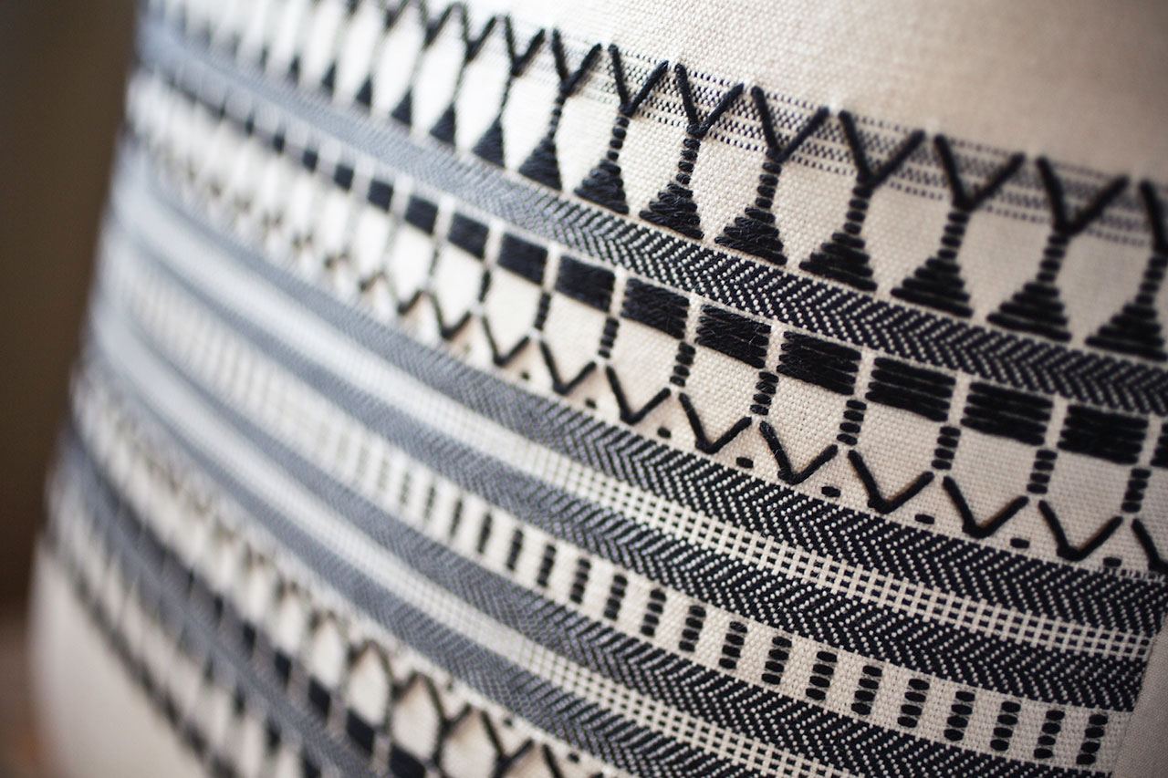 Schemata Series, Star Pulses (detail), Handwoven Cushion Cover, 42 x 42cm, Cotton. Photo by Panagiotis Mina.