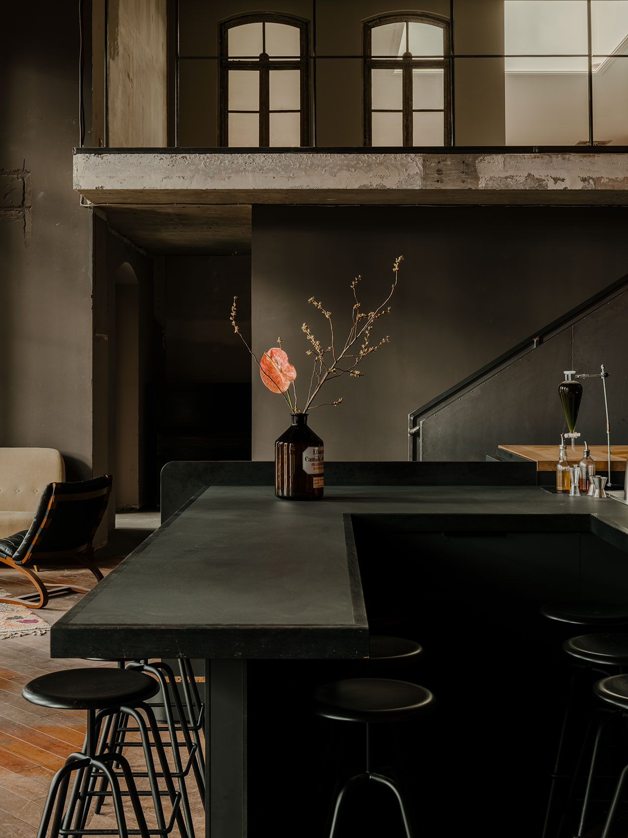 KINK Bar & Restaurant. Bar design in collaboration with Hidden Fortress.Bar stools by Atelier Haussmann. Photography by Robert Rieger. Courtesy of Kerim Seiler.