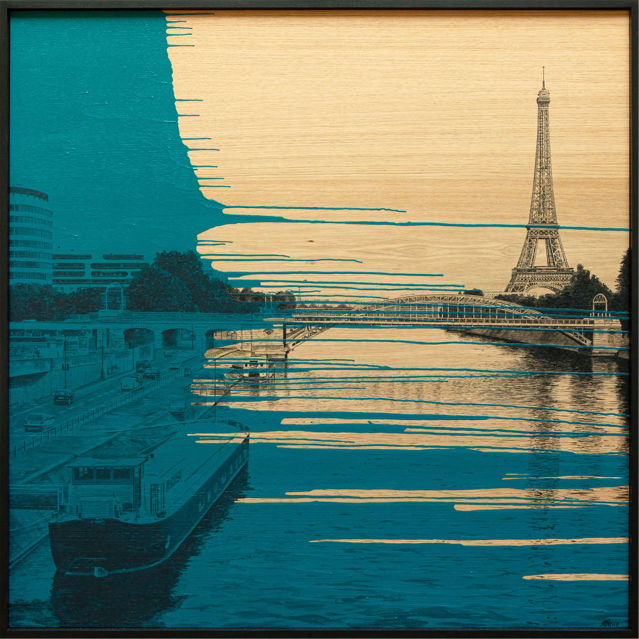 Laurent Minguet, Seine de Paris, 2019. Acrylic on Oak panel, 120 x 120 cm. © Laurent Minguet.