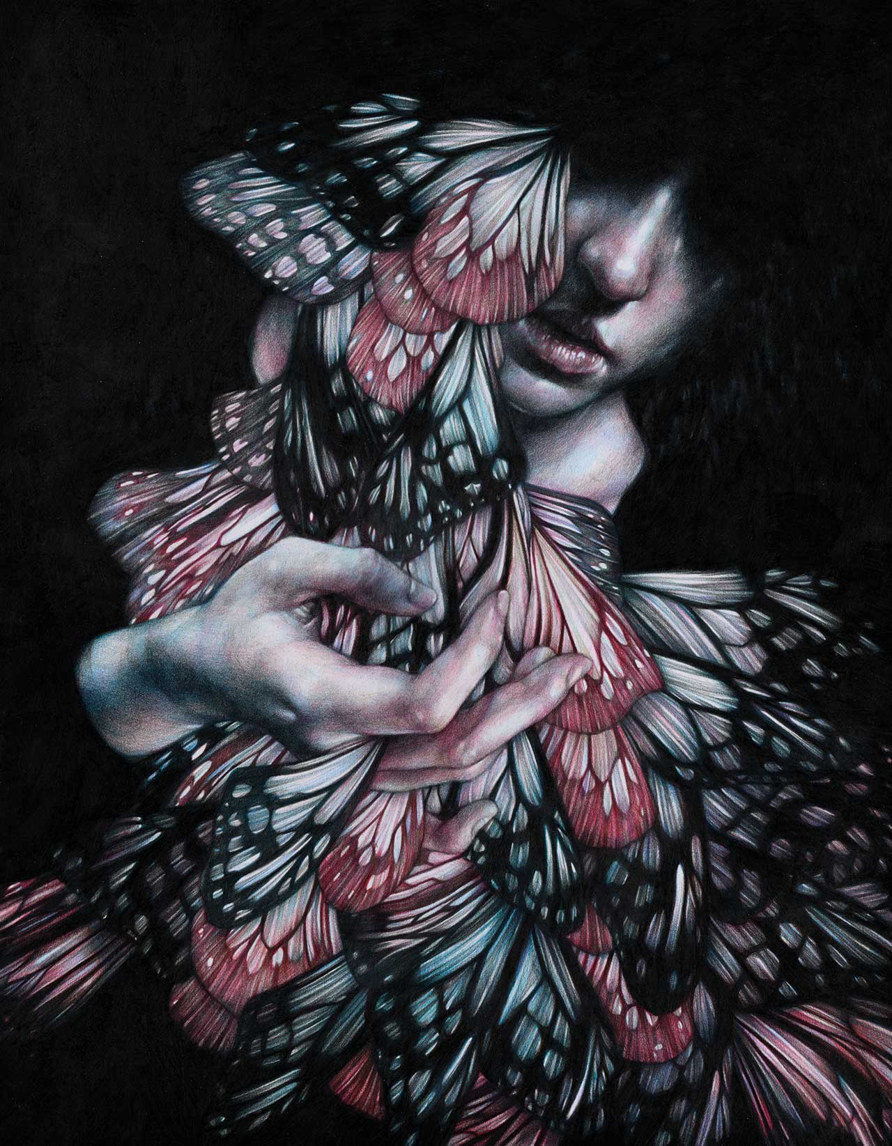 Marco Mazzoni, Passage, 2017. Colored pencils on paper, 38 x 48cm. © Marco Mazzoni.