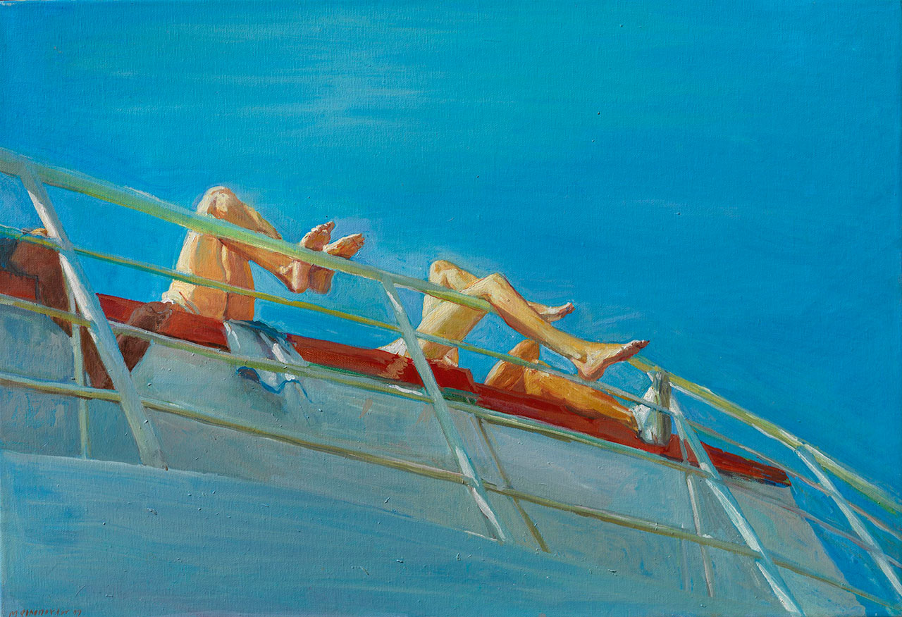 Maria Filopoulou, On the boat, 1999. Oil on canvas, 50 x 90cm.