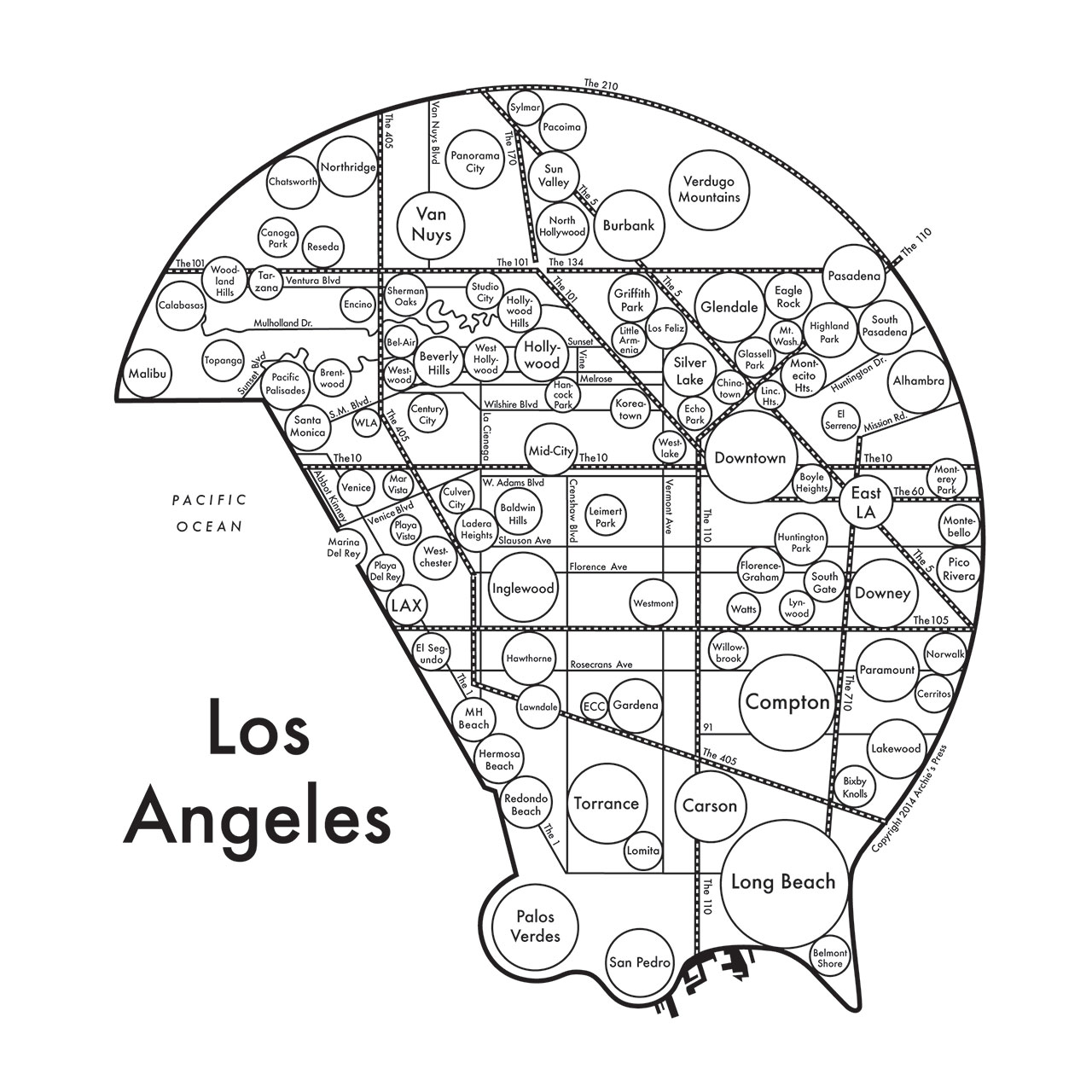 Archies Press - A Mental Map of… Los Angeles, 2013. From 'Mind the Map', © Gestalten 2015.